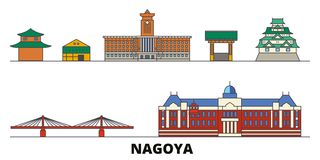Japan, Nagoya flat landmarks vector illustration. Japan, Nagoya line city with famous travel sights, skyline, design. Japan, Nagoya flat landmarks vector royalty free illustration