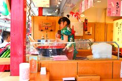 Japan :Nakamise dori in Asakusa, Tokyo. During the summer ,stall holders at the Nakamise dori shopping street selling food to visitor at Asakusa, Tokyo Stock Image