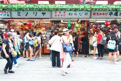 Japan :Nakamise dori in Asakusa, Tokyo. Visitors shopping at the Nakamise dori shopping street in Asakusa, Tokyo Royalty Free Stock Photography