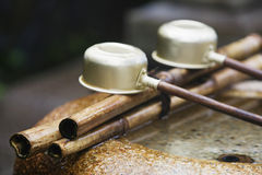 Japan Nara Kofuku-ji Temple Row of ladles close-up Royalty Free Stock Photography