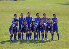 Japanese deaf team. The japan national deaf football team at the world cup at eboli in italy royalty free stock photography