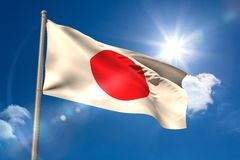 Japan national flag on flagpole Royalty Free Stock Images