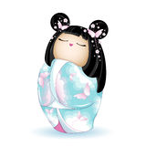 Japan National kokeshi doll in blue kimono with a pattern of pink clouds and butterflies. Vector illustration on white background. A character in a cartoon stock illustration
