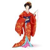Japan nationell docka Hina Ningyo i en röd kimono med modellen av guld- liljor Ett tecken i en tecknad filmstil också vektor för  Arkivfoto