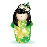 Japan nationell kokeshidocka i en grön kimono med en modell av vita blommor och sländor Vektorillustration på vit backgr Royaltyfri Fotografi