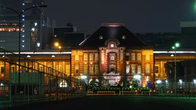japan nattstation tokyo Arkivfoto