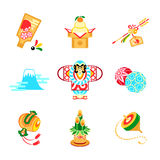 Japan New Year symbols. Japan New Year toys, decorations and symbols Stock Image