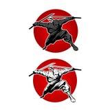 Japan Ninjas sport Logo concept. Katana weapon insignia design. Vintage ninja mascot badge. Martial art Team t-shirt illustration Stock Images