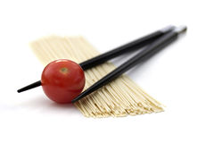 Japan noodles with chopsticks isolated on white Stock Photography