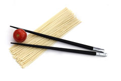 Free Japan Noodles With Chopsticks Isolated On White Stock Photo - 18089550