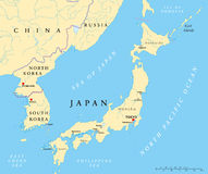 Japan, Nordkorea och Sydkorea politisk översikt Arkivfoton