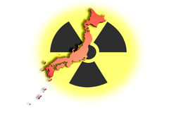 Japan nuclear disaster 01. High resolution image with an outline map of Japan on radioactive symbol. Conceptual image about the Fukushima nuclear meltdown Royalty Free Stock Photos