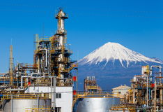 Japan oil refinery plant with mountain Fuji Stock Photo