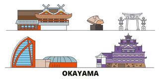 Japan, Okayama flat landmarks vector illustration. Japan, Okayama line city with famous travel sights, skyline, design. Japan, Okayama flat landmarks vector vector illustration