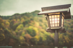 Japan old lamp. With rainy day background, vintage street lamp composition for text Royalty Free Stock Image