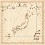 Japan old treasure map. Sepia engraved template of pirate map. Stylized pirate map on vintage paper stock illustration