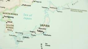Japan op een Politieke Kaart met Defocus stock videobeelden