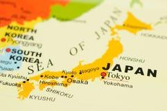 Japan op kaart Stock Foto's