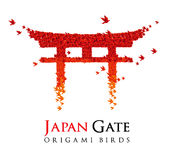 Japan origami gate Torii. Vector conceptual illustration of Japanese traditional big red gate Torii shaped from flying origami birds. Isolated on white Stock Photo