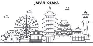 Japan, Osaka architecture line skyline illustration. Linear vector cityscape with famous landmarks, city sights, design. Icons. Editable strokes stock illustration