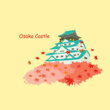 Japan osaka castle and maple Royalty Free Stock Photo