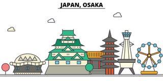 Japan, Osaka. City skyline architecture . Editable Royalty Free Stock Photo