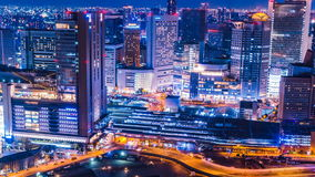 Japan Osaka City Skyline Timelapse. View from Umeda Sky Building. Overlooking the piazza, commercial district and shopping area close to Osaka JR station and stock video footage