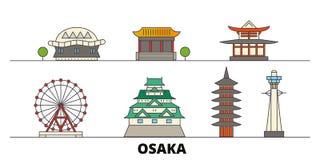Japan, Osaka flat landmarks vector illustration. Japan, Osaka line city with famous travel sights, skyline, design. Japan, Osaka flat landmarks vector royalty free illustration