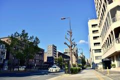 Japan Osaka gatasikt 2018 i en solig dag royaltyfria bilder