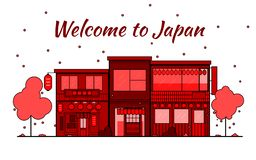 Japan outline horizon. Old Town, shopping old streets. Japan cityscape, Japanese travel city  banner. City silhouette. stock illustration