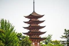 Japan pagoda closeup over white sky Royalty Free Stock Image