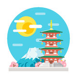 Japan pagoda flat design landmark Stock Photography