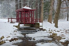 Japan pavilion over creek in winter - park Betliar Stock Photo