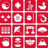 Japan pictograms. Some pictograms representing Japan and its traditions Royalty Free Stock Image