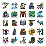 Japan pixel perfect color line icons stock illustration