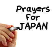 Japan prayers text writing message. Hand writing Prayers for Japan, isolated on white background Stock Images