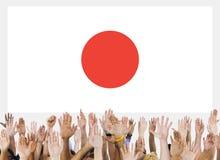 Japan Pride Unity Concept för Japan flaggapatriotism Royaltyfria Bilder