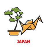 Japan promotional poster with bonsai tree and origami. Oriental small green plant in pot and yellow paper bird on commercial banner isolated cartoon flat Stock Photography
