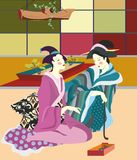 Japan. In a quiet house talk of two ese women, the room is cozy and bright, colorful box, tray growing bonsai Stock Image