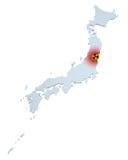 Japan radioactive hazard. Map of Japan with sign of radioactive contamination Stock Photos