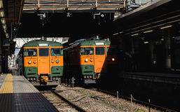 Japan Railway. Japanese trains at a station. Train is the main method of transportation in Japan Royalty Free Stock Photos