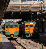 Japan Railway. Japanese trains at a station. Train is the main method of transportation in Japan Stock Images