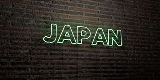 JAPAN -Realistic Neon Sign on Brick Wall background - 3D rendered royalty free stock image Royalty Free Stock Images