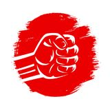 Japan red flag sun clenched fight mixed martial arts karate raised fist. Clenched fist vector illustration on red brush stroke circle hand drawn paint japan flag Royalty Free Stock Images