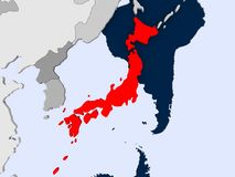 Map of Japan. Japan in red on political map with transparent oceans. 3D illustration stock images