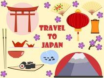 japan Reise nach Japan Ohne Ineinander greifen Flache Ikonen eingestellt Lizenzfreie Abbildung