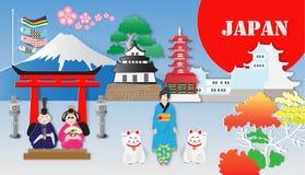 Japan-Reise und die meisten berühmten Marksteine, Vektorillustration lizenzfreie abbildung