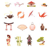 Japan Retro Cartoon Icons Set. With shrine sakura geisha samurai origami  bonsai and bamboo isolated vector illustration Stock Image
