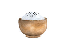 Japan rice and black sesame seeds in a wooden bowl. Watercolor painting illustration on white background Royalty Free Stock Images