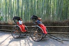 Japan ricksha with  green bamboo Royalty Free Stock Images